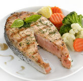 Slice Of Salmon And Vegetables Royalty Free Stock Photography