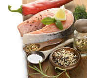 Slice Of Salmon And Wild Rice Stock Images