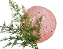 Slice of sausage. Stock Photo