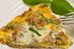 Slice of sausage frittata Stock Images