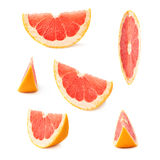 Slice section of grapefruit isolated over the white background Royalty Free Stock Images