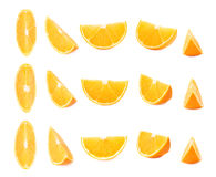 Slice section of orange isolated over the white background, set of different foreshortenings. Slice section of ripe orange isolated over the white background stock images