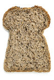 Slice of Seeded Bread Isolated on White. Slice of seeded bread, isolated on white.  Overhead view Royalty Free Stock Photos