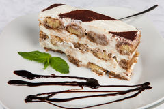 Slice of self-made italian tiramisu dessert Stock Photos