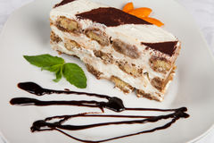 Slice of self-made italian tiramisu dessert Stock Image