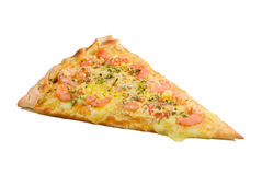 A slice of shrimp pizza Stock Photos