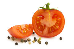 Slice with a slice of tomato and peas pepper Royalty Free Stock Photo