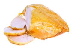 Slice on smoked chiken with knife . Isolated Stock Photos