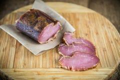 Slice of smoked ham Stock Photos