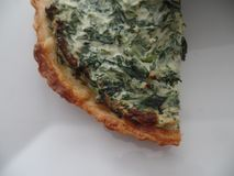 A slice of spinach and ricotta cheese tart royalty free stock photos