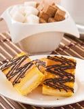 Slice of sponge cake with tea Stock Photography