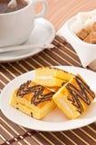 Slice of sponge cake with tea Royalty Free Stock Photo