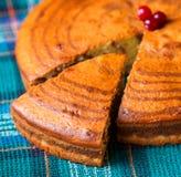 Slice of sponge cake Zebra. One cut piece of homemade cake Zebra Royalty Free Stock Images