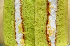 A slice of sponge Pandan cake Stock Image