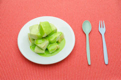 Slice steamed bread and pandan custard topping Stock Image