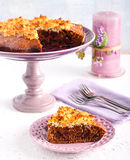 Slice of sticky date cake Royalty Free Stock Photos