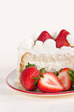 Slice of strawberry cake Stock Photos