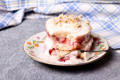 A slice of strawberry cake Stock Images