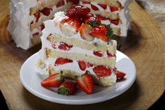 Slice of strawberry cake Royalty Free Stock Images