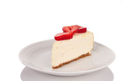 A slice of strawberry cheescake on a white plate Royalty Free Stock Images