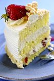 Slice of strawberry meringue cake Royalty Free Stock Images