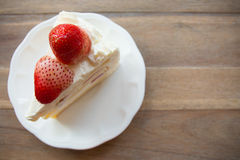 Slice of strawberry shortcake Royalty Free Stock Photos