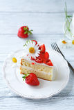 Slice of summer strawberry cake Stock Image