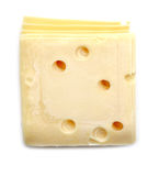 Slice of Swiss cheese close up,  isolated on white background. Royalty Free Stock Images