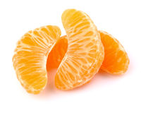 Slice of tangerine. In closeup Royalty Free Stock Photo