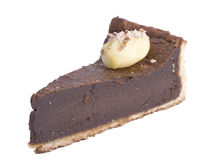 Slice of Tart. Please also check out my other food images. Slice of chocolate tart isolated on white background stock images