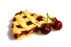 Slice Of Tart With Cherries Stock Image