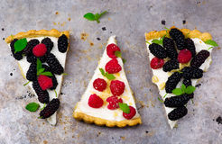 Slice of a tart with fresh berries. Royalty Free Stock Photos