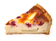 Slice of tart with raspberries Royalty Free Stock Images
