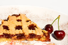 Slice Of Tart With Sour Cherry Jam Stock Images
