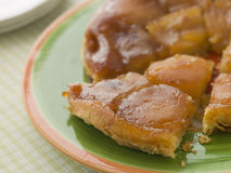 Slice of Tarte Tatin aux Pomme Stock Photos
