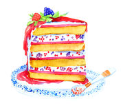 Slice of tasty cake with berries. Hand Painted Watercolor Illustration Slice of tasty cake with berries Stock Photo