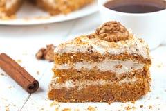 Slice of tasty gourmet vegetable carrot cake Stock Image
