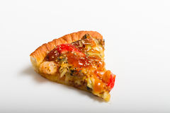Slice of Tasty Italian pizza. On white background Stock Images