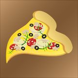 Slice of tasty pizza with mushroom and cheese vector illustration