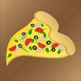 Slice of tasty pizza with tomato and cheese vector illustration