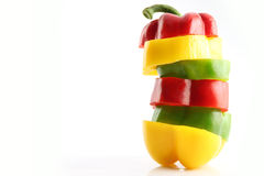 Slice the Three color of bell pepper in Arranged vertically. Stock Photo