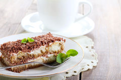Slice of tiramisu cake Royalty Free Stock Image