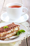 Slice of tiramisu cake Stock Images