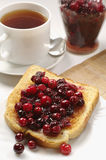 Slice toast bread with cranberry jam Stock Photography