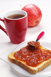 Slice toast bread with jam and tea Royalty Free Stock Images