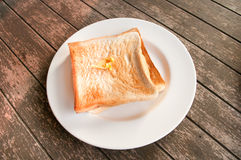 Slice toast bread in white dish Breakfast Royalty Free Stock Photos
