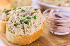 Slice of toasted baguette with creamy pate Stock Photo