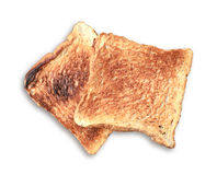 Slice toasted bread on black dish. Stock Photo