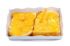 A slice of toasted bread with butter and sugar Royalty Free Stock Photo