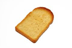 Slice of toasted bread on white background with clipping path. Slice of toasted bread isolated on white background with clipping path royalty free stock photography